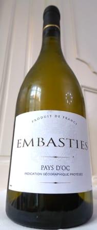 Photo d'une bouteille de Domaine des Embasties Vin de pays d'Oc