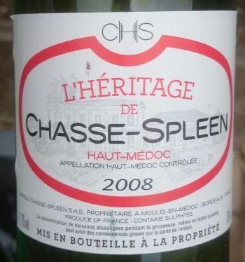 Photo d'une bouteille de L'Héritage de Chasse-Spleen Haut-Médoc