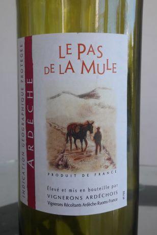 Photo d'une bouteille de Vignerons Ardéchois - Le Pas de la Mule Vin de Pays de l'Ardèche